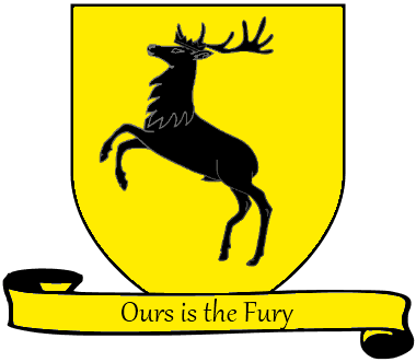 A Song of Ice and Fire arms of House Baratheon yellow scroll English