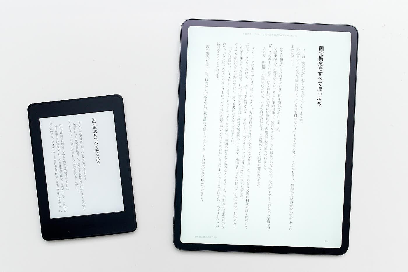 左 Kindle PaperWihite 右 iPad Pro2018